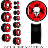 Black Acrylic Red Skull Iron Cross Saddle Plug