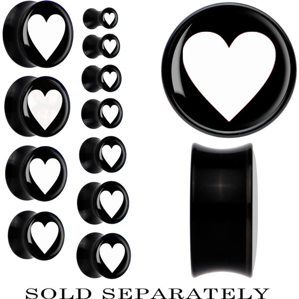 Black Acrylic Black White Heart Saddle Plug
