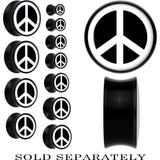 Acrylic Black White Peace Sign Saddle Plug