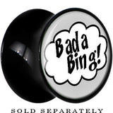Black Acrylic Retro Comic Bada Bing Saddle Plug