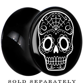 Black Acrylic White Sugar Skull Art Saddle Plug