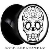 Black Acrylic White Black Sugar Skull Art Saddle Plug