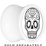 White Acrylic White Black Sugar Skull Art Saddle Plug