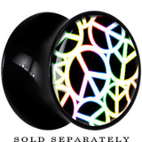 Black Acrylic Rainbow Outlined Peace Sign Saddle Plug
