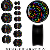 Black Acrylic Blazing Rainbow Peace Sign Saddle Plug