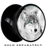 Black Acrylic Blazing Blue Eyed Night Wolf Saddle Plug