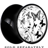 Black Acrylic Monochrome Butterfly Garden Saddle Plug