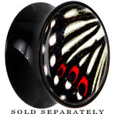 Black Acrylic White and Red Butterfly Wing Saddle Plug