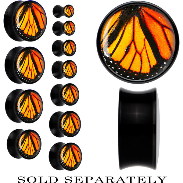 Black Acrylic Monarch Butterfly Wing Saddle Plug