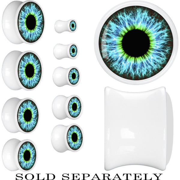 White Acrylic Human Eye Aqua Explosion Saddle Plug