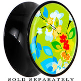 Black Acrylic Retro Green Oriental Kimono Print Saddle Plug