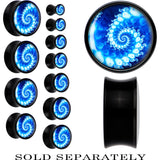 Black Acrylic Blue Swirl Fractal Saddle Plug