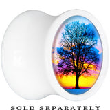 White Acrylic Sunset Tree Branching Out Saddle Plug