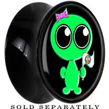 Black Acrylic Come in Peace Alien Saddle Plug
