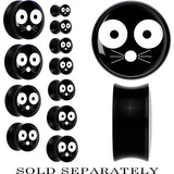 Black Acrylic Monochrome Cat Face Whiskers Saddle Plug