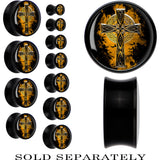 Black Acrylic Aged Celtic Cross Saddle Plug