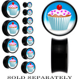 Black Acrylic Heart Sprinkled Frosted Cupcake Saddle Plug