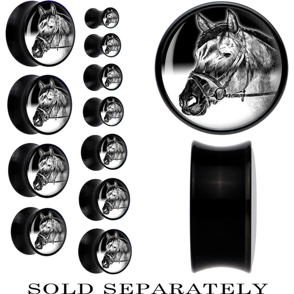 Black Acrylic Monochrome Bridled Horse Saddle Plug