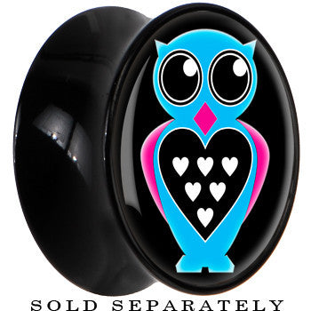 Black Acrylic Blue Heart Owl Saddle Plug