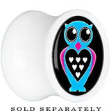 White Acrylic Blue Heart Owl Saddle Plug