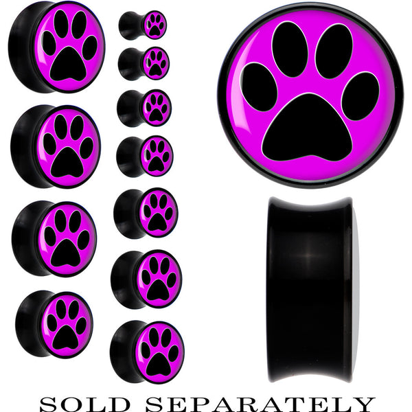 Black Acrylic Fuchsia Black Paw Print Saddle Plug