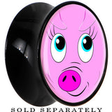 Black Acrylic Pinky Pig Face Saddle Plug