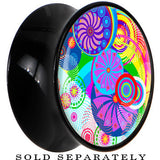 Black Acrylic Retro Colorful Oriental Kimono Print Floral Saddle Plug