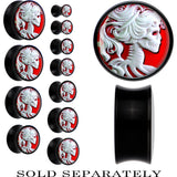 Black Acrylic White Skeleton Cameo Saddle Plug