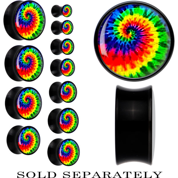 Black Acrylic Tie-Dyed Saddle Plug