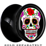 Black Acrylic White Sugar Skull Saddle Plug