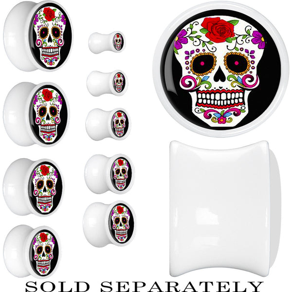 White Acrylic White Sugar Skull Saddle Plug