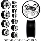 Black Acrylic Monochrome Webbed Tarantula Spider Saddle Plug