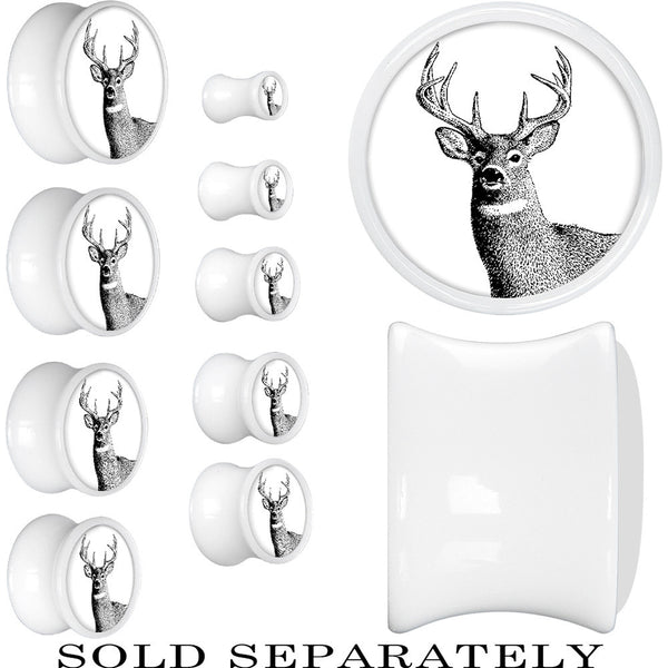 White Acrylic Monochrome Deer Buck Saddle Plug