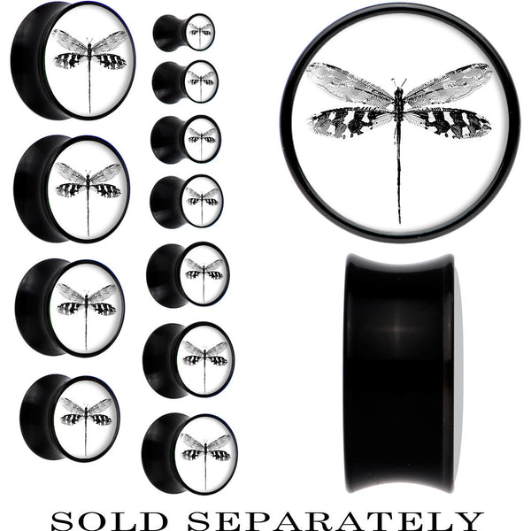 Black Acrylic Monochrome Dragonfly Saddle Plug