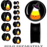 Black Acrylic Witch Hat Candy Corn Saddle Plug