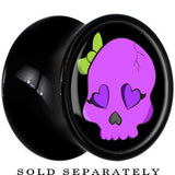 Black Acrylic Purple Skull with Green Bow Saddle Plug