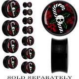 Black Acrylic Christmas Skull Holly Candy Cane Saddle Plug