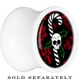 White Acrylic Christmas Skull Holly Candy Cane Saddle Plug