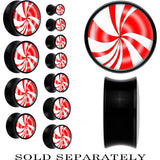 Black Acrylic Red White Peppermint Holiday Candy Saddle Plug