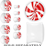 White Acrylic Red White Peppermint Holiday Candy Saddle Plug