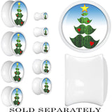 White Acrylic Holiday Mustache Tree Saddle Plug