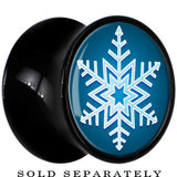 Black Acrylic Blue Holiday Snowflake Saddle Plug