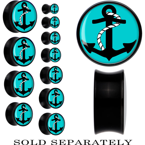 Black Acrylic Turquoise Black Anchor Saddle Plug