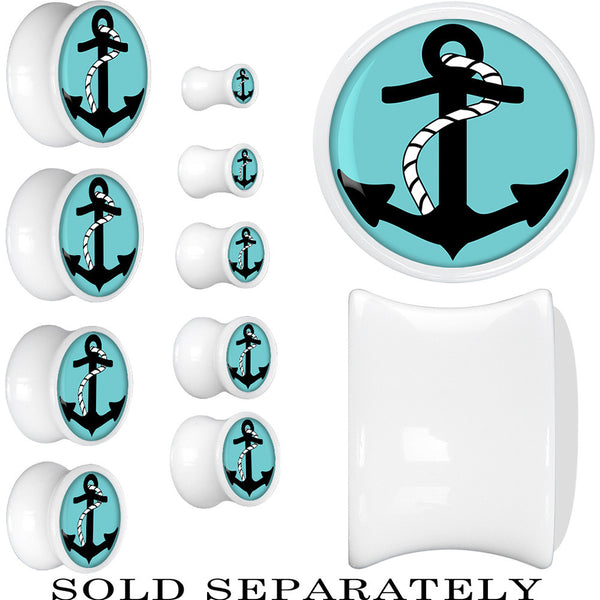 White Acrylic Turquoise Black Anchor Saddle Plug