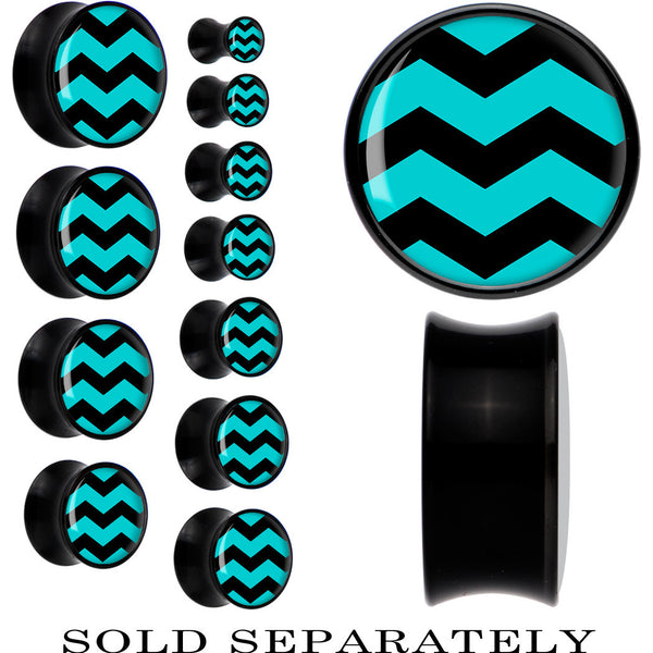 Black Acrylic Turquoise Black Chevron Saddle Plug