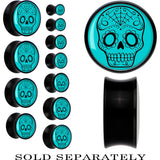 Black Acrylic Turquoise Black Sugar Skull Saddle Plug