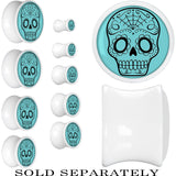 White Acrylic Turquoise Black Sugar Skull Saddle Plug