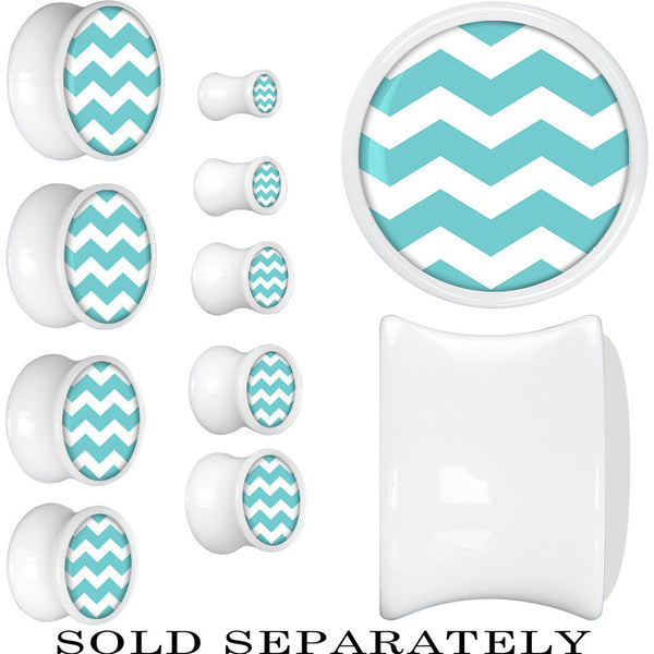 White Acrylic Turquoise White Chevron Saddle Plug