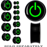 Black Acrylic Green Power Button Saddle Plug
