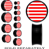 Black Acrylic Red White Stripes Saddle Plug